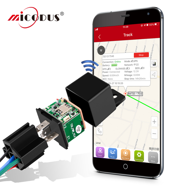 Mini GPS Tracker Car Tracker Micodus MV720 Relay Hidden Design Cut Off Fuel Car GPS Locator 9-90V 80mAh Vibrate Alert Free APP 1