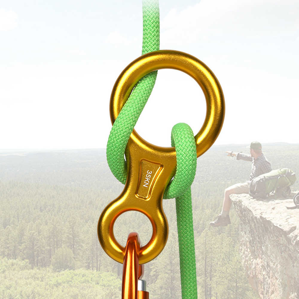 35KN Rock Tree Climbing Figure 8 Rope Descender Rappel Ring for 8-13mm Rope