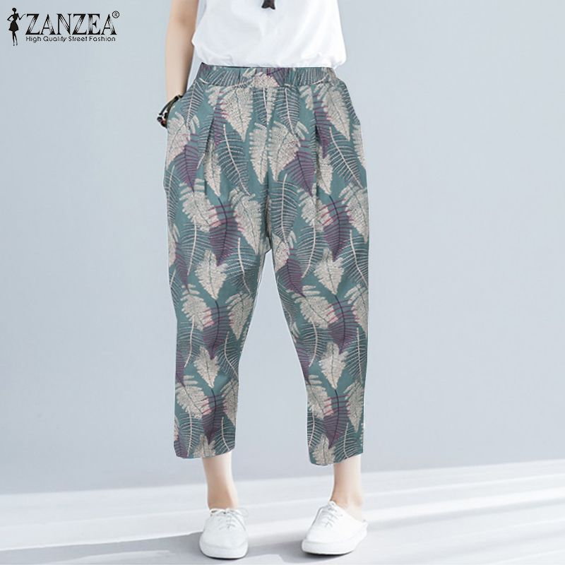 ZANZEA Women Casual Cotton Pants Ladies Bohemian Floral Printed Trousers Female Long Harem Pants Elastic Waist Pantalones S-5XL