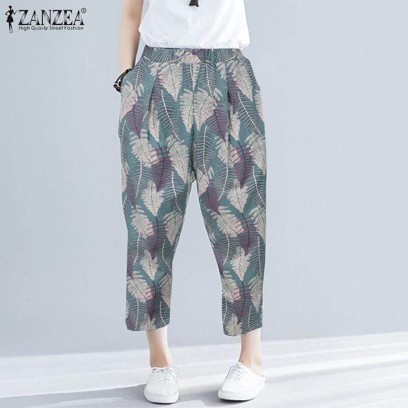 ZANZEA Women Casual Cotton Pants Ladies Bohemian Floral Printed Trousers Female Long Harem Pants Elastic Waist Pantalones S-5XL