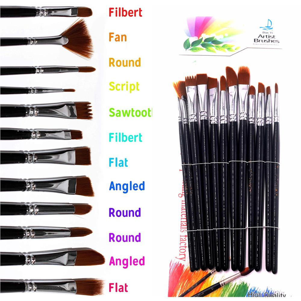 12 PCS Professional Paint Brush Set Nylon Hair Watercolor/Craft/Face Paints