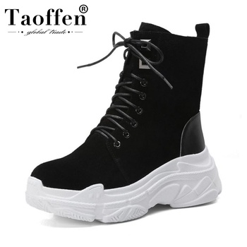 Taoffen Women Real Leather Zipper Ankle Boots Platform Thick Sole Round Toe Fashion Black Boots Daily Footwear Botas Size 34-40
