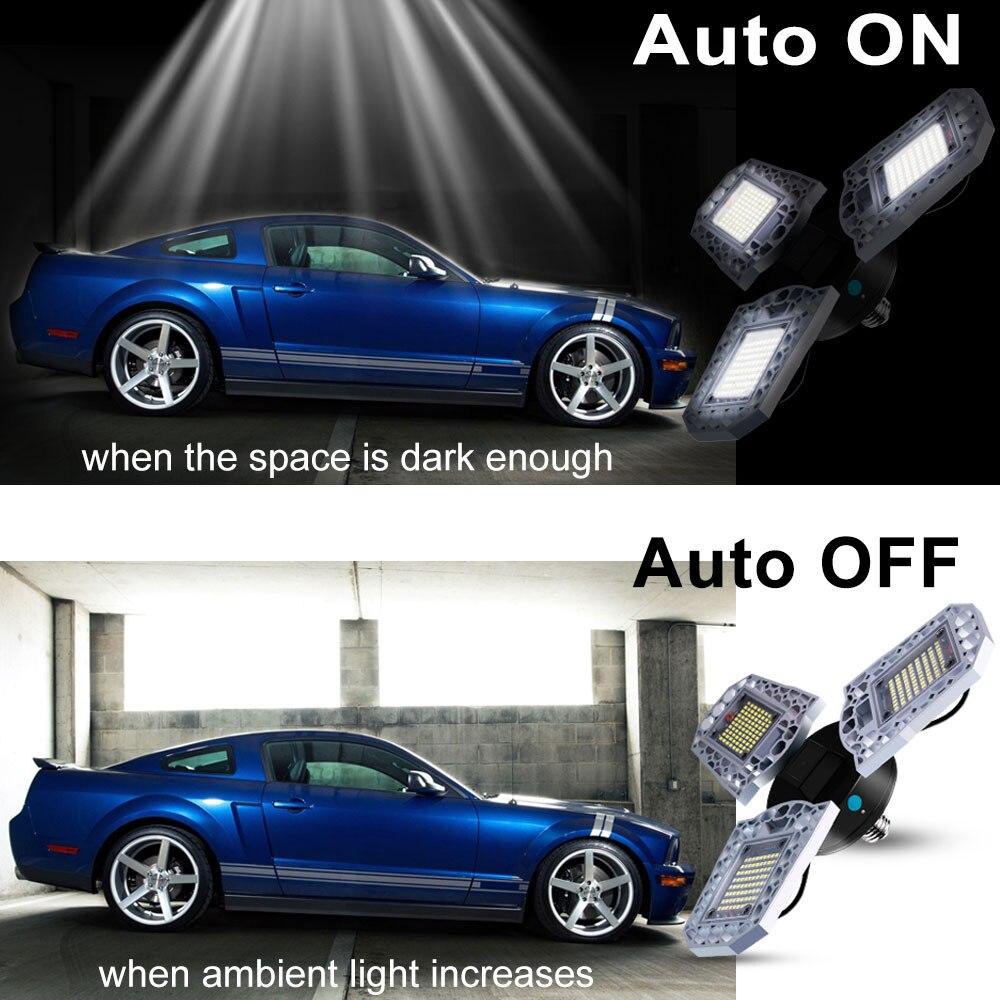 LED Lamp E26 100W Bulb E27 220V UFO Light Sensor Garage 60W 80W Lampara 110V Deformable Outdoor Lighting 2835