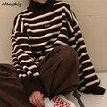 Turtelneck Pullover Frauen Neue Einfache Striped Frühling Winter Ulzzang Mode Womens Studenten Harajuku Weiche Chic Dame Jumper
