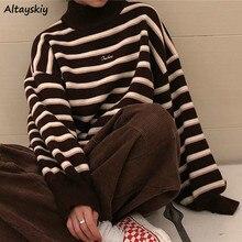 Turtelneck las mujeres suéter nuevo rayado Simple primavera invierno Ulzzang moda mujer estudiante Harajuku suave elegante dama sudaderas