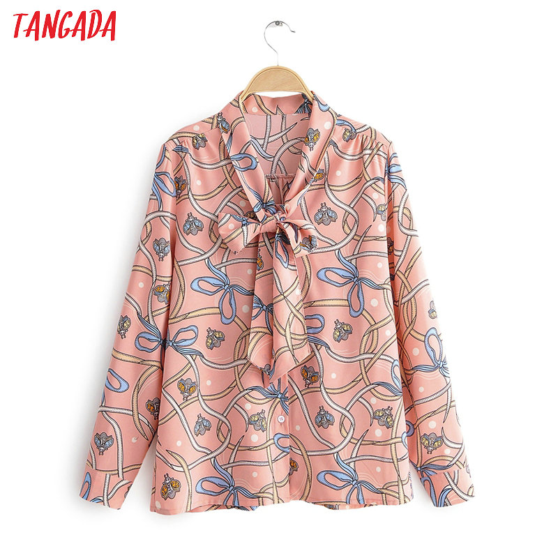 Tangada Women Pink Bow Tie Animal Print Blouse Long Sleeve Chic Office Lady Work Chiffon Shirt Blusas Femininas 1F23