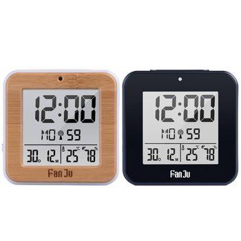 Reloj despertador Digital Dual DCF con Radio controlada, termómetro, higrómetro, despertador de mesa con retroiluminación automática