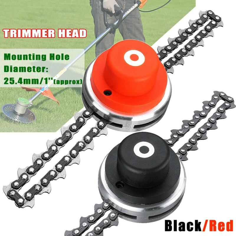 Universal 65Mn Trimmer Head Coil Chain Brush Cutter Garden Grass Trimmer Head With Saw Chain Lawn Mower Parts