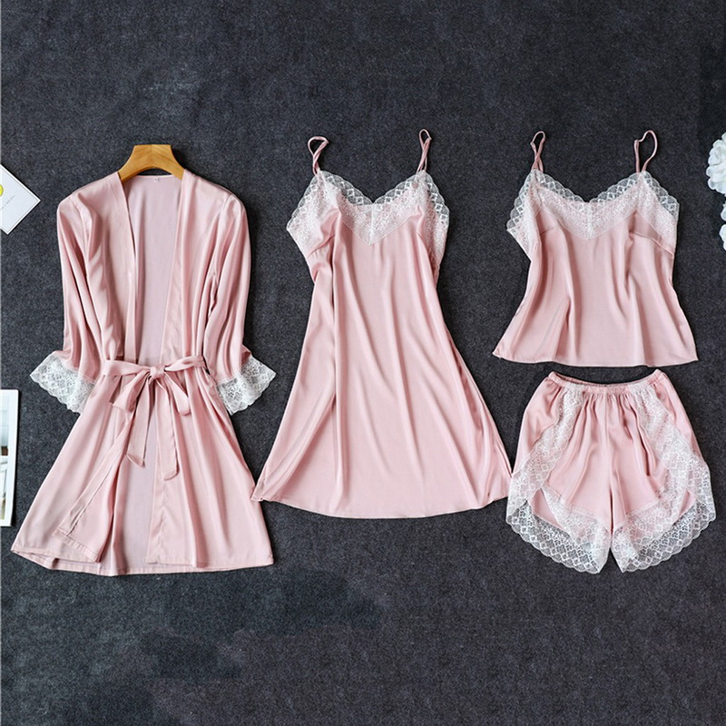Silk Pajamas For Women Sleepwear Suit New 2020 Summer Pijama Mujer Sexy Lace Lingerie Female Pyjama Satin Pajama Set Nightwear