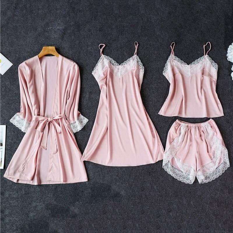 Silk Pajamas For Women Sleepwear Suit New 2020 Summer Pijama Mujer Sexy Lace Lingerie Female Pyjama Satin Pajama Set Nightwear