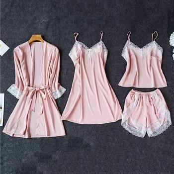 Silk Pajamas for Women Sleepwear Suit New 2020 Summer Pijama Mujer Sexy Lace Lingerie Female Pyjama Satin Pajama Set Nightwear pajamas sets for women sexy lace vneck pijama mujer pyjama femme satin summer sleepwear nightwear lingerie female underwear 19dc