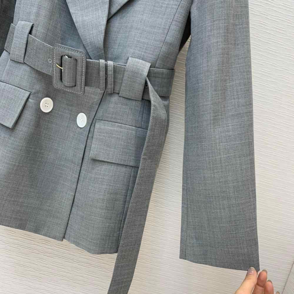 9,22 высокое качество 2020 Осень Зима Новая мода двубортный серый шерстяной Блейзер Пальто Женский темперамент отворот с поясом Верхняя одежда