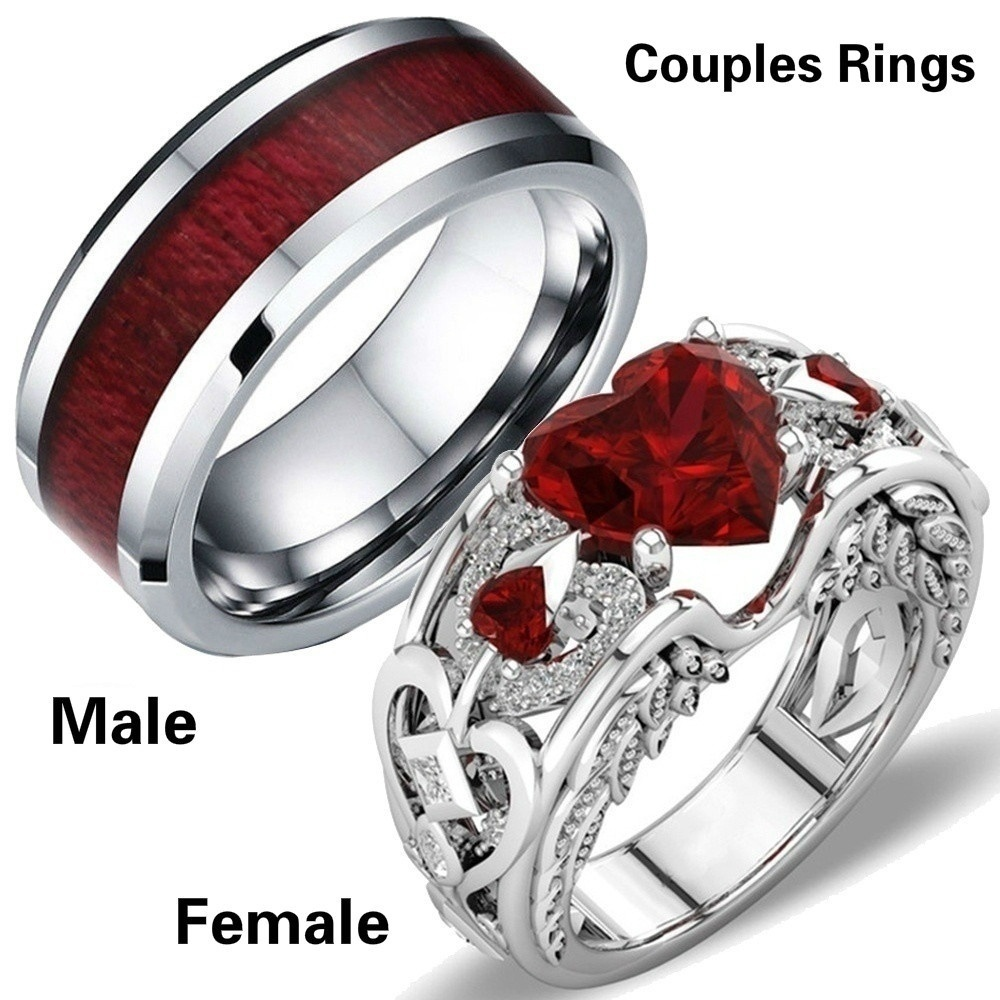 Fashion Men and Women Carving Couples Ring Red Crystal Zircon Wedding Ring Engagement Anniversary Party Rings Couple Jewelry