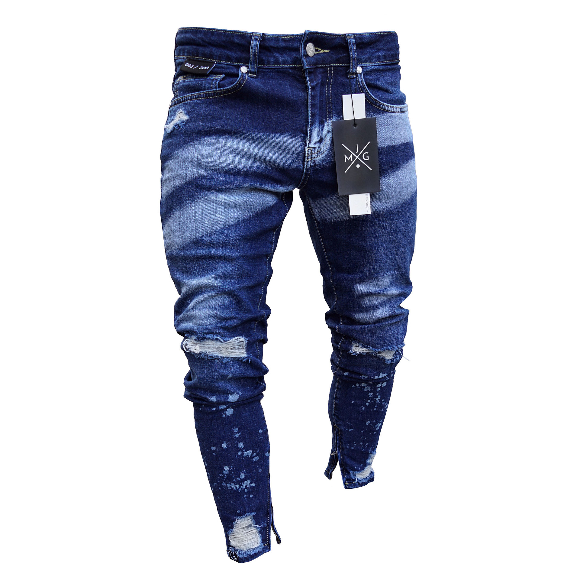 Europe And America With Holes Cowboy Men's Skinny Pants Hot Selling Paint Zipper Cool Slim Fit Pants Jeans
