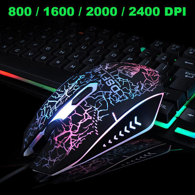 Backlight Usb Wired keyboard+mouse Set 2400DPI Gaming Keyboard And Mouse Set for PC Laptop PS4