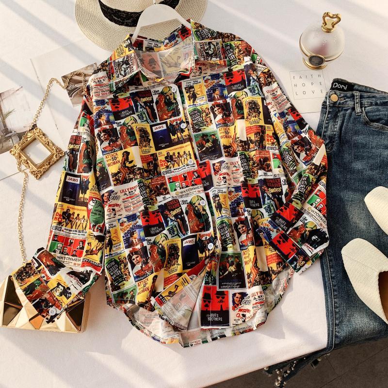 Women's Retro Printing Loose Slim Street Print Casual Shirts Lady Long Sleeve Korean Fashion Clothing  Blusas Mujer De Moda J129