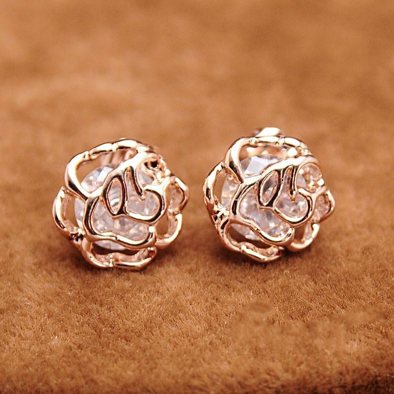 Creative Geometry Rosette Shape Stud Earrings Cute Small-Scale Hollow Out Flower CZ Earrings Party Jewelry