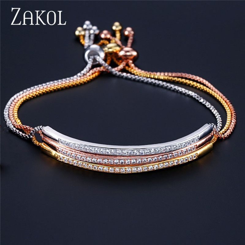 ZAKOL Top Bracelet & Bangle for Women Captivate Bar Slider Brilliant CZ Rose Gold Color Jewelry Pulseira Feminia FSBP2021(China)