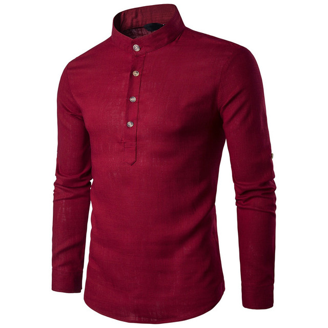 ZOGAA Men Long Sleeve Clothing Shirts Men's Business Undershirt Mens Smart Casual Stand Collar Slim Pure Color Top Dress Shirts 3