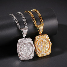 Hip Hop Personality Zircon Dial Pendant Watch Clock Crystal Rhinestone Bling for Men Jewelry Necklaces