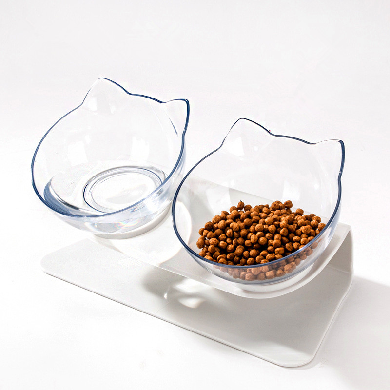 Non-slip Cat Double Bowls With Raised Stand
