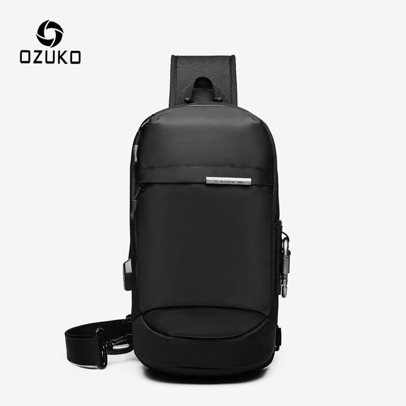 OZUKO Crossbody Bags For Men Fashion Messenger Sling Bag Male Waterproof Short Travel Chest Bag USB Single Shoulder Strap Pack