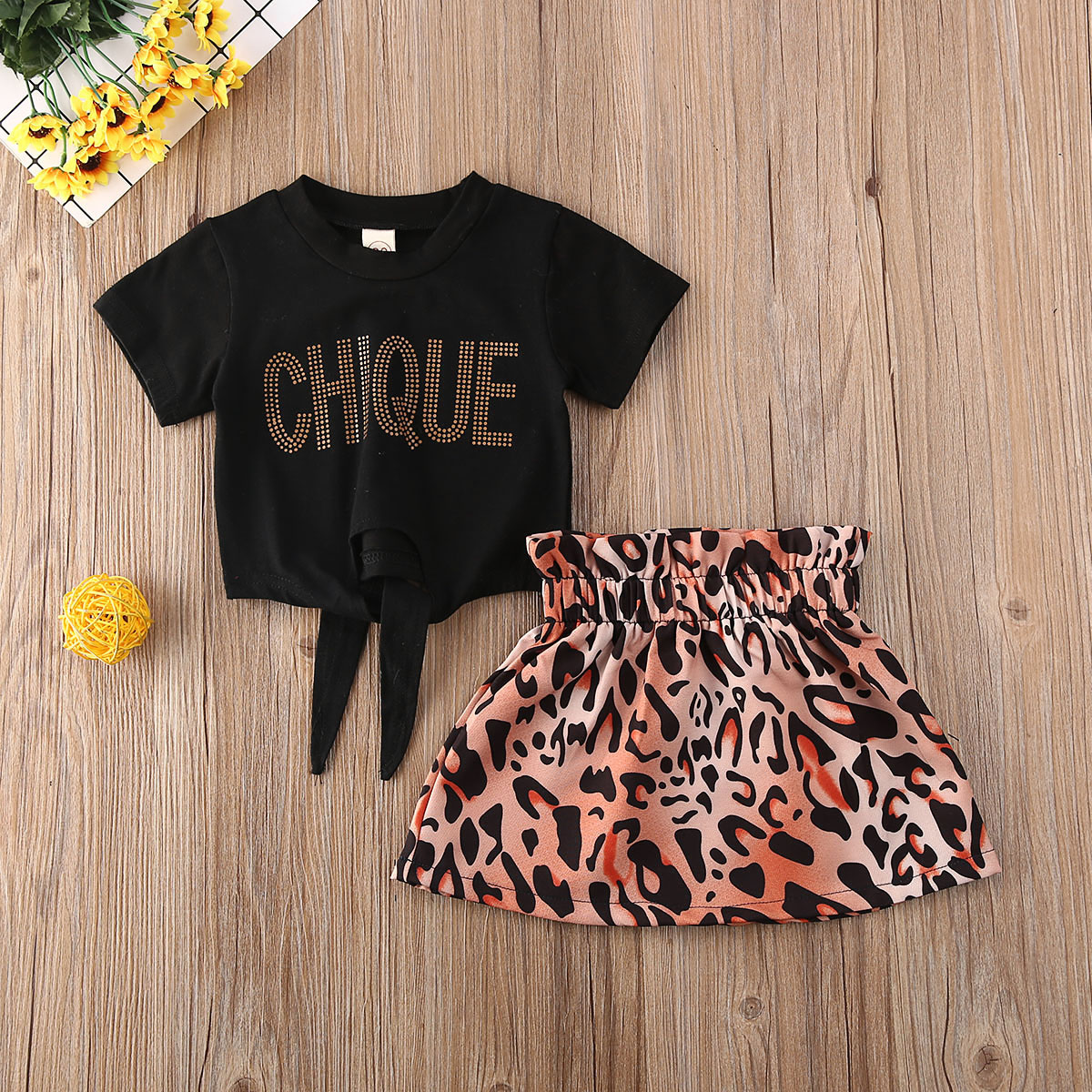 Pudcoco Toddler Baby Girl Clothes Letter Short Sleeve Crop Tops Leopard Print Mini Skirt 2Pcs Outfits Cotton Clothes