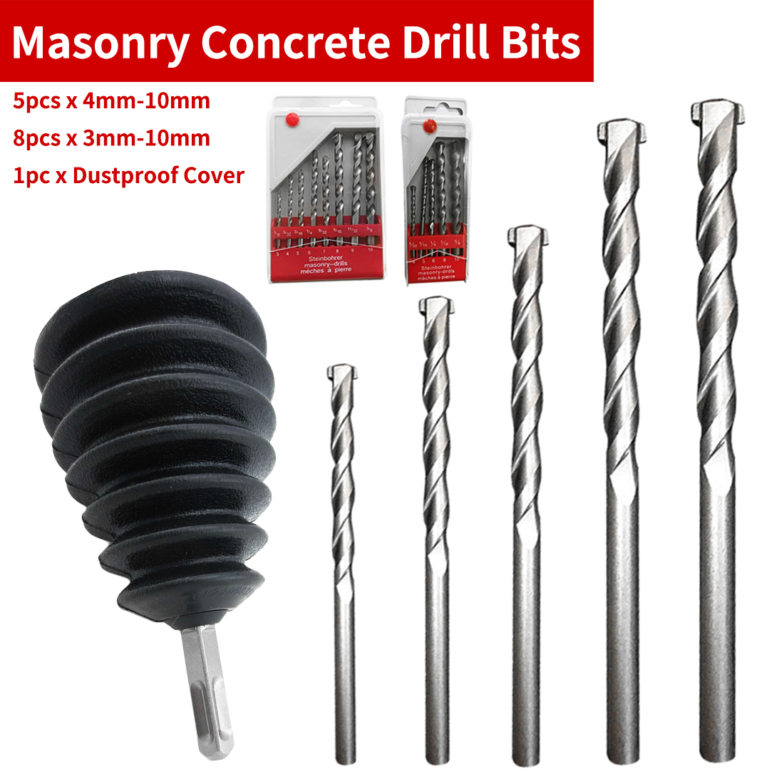 3mm-10mm/4mm-10mm Drill Bit Tool Set 5pcs/8pcs Nickel Plating Round Shank Impact For Wall Cement Alloy Concrete Marble