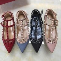 size 43 women flat sandals fashion wedding shoes flat rivets shoes classics v logo black matte nude shoes 34 43 box