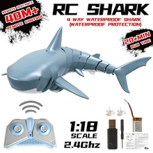 Hot RC Simulation Shark Toys 2.4G 4CH Waterproof Electric Remote Control Shark Boat Swimming Pool Bathroom Children Toys Gift