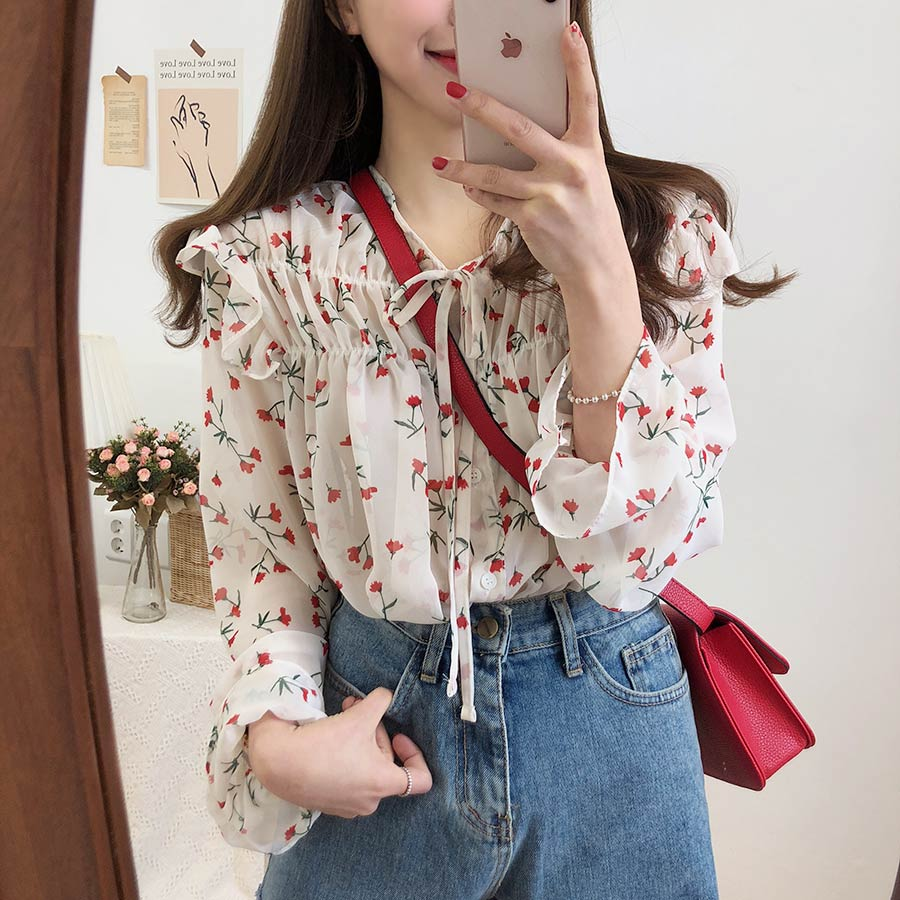H10a869e0dfa74c8c9ef395eb7aca4479T - Spring / Autumn Lace-Up Collar Long Sleeves Floral Print Blouse