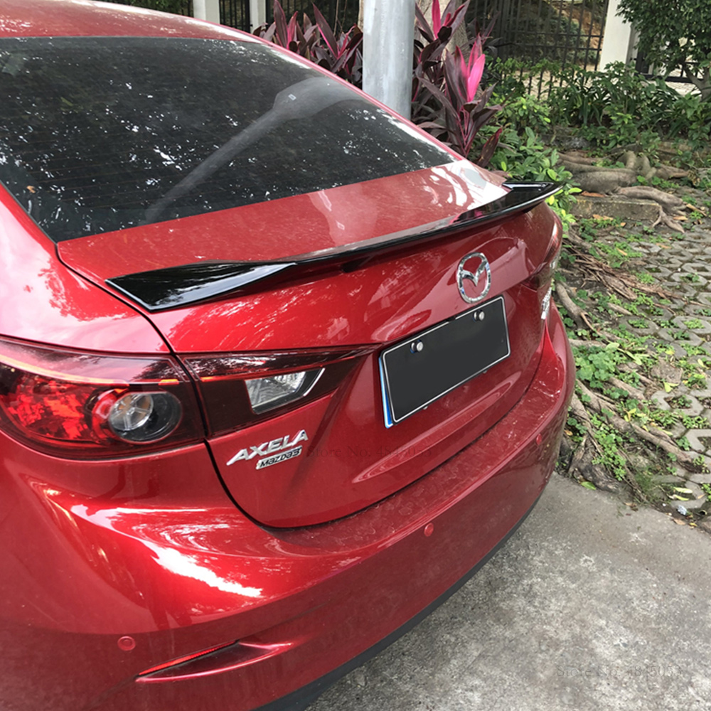 Fit For <font><b>MAZDA</b></font> <font><b>3</b></font> Axela 2014 2015 2016 2017 <font><b>2018</b></font> ABS Plastic Rear Wing <font><b>Spoiler</b></font> Primer Color Trunk Tail <font><b>Spoiler</b></font> Car Styling image