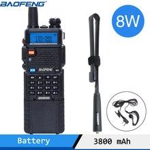 Baofeng UV 5R 8 ワットポータブルトランシーバー強力な 1800/3800 mah 10 キロ 50 キロ長距離 UV5R デュアルバンド 2 双方向 cb ラジオ communicador
