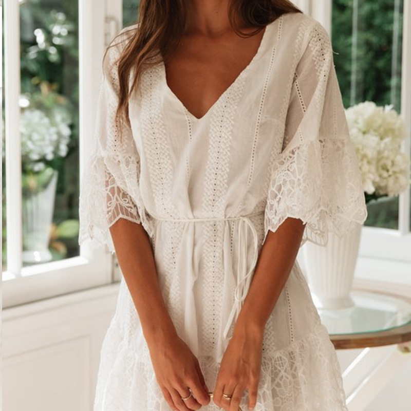 2021 Fashion Drawstring Stitched V-neck Women Patchwork Dress Cotton Embroidery Lace Floral Lady Flare Sleeve Dress XL