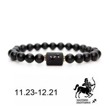 Μοντέρνο Ανδρικό Βραχιόλι με Μαύρες Πέτρες και Σύμβολο Ζωδίου Γυναικείο Βραχιόλι με Μαύρες Πέτρινες Χάντρες και Ζώδιο
