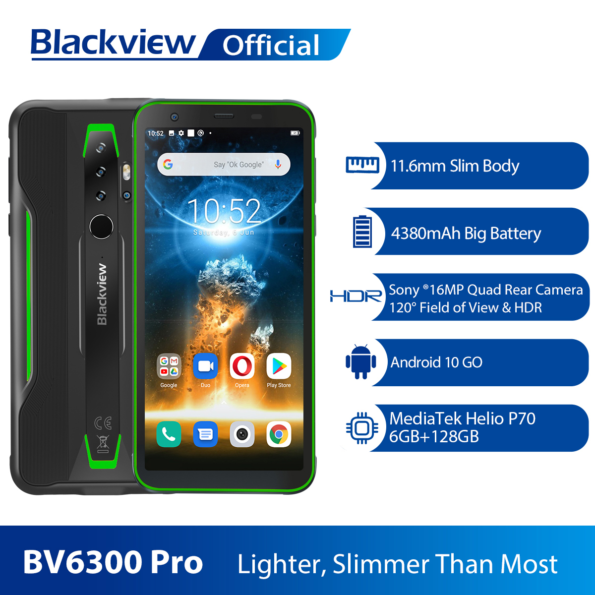BLACKVIEW 2020 New BV6300 Pro Helio P70 6GB+128GB Smartphone 4380mAh Android 10.0 Mobile Phone NFC IP68 Waterproof Rugged Phone