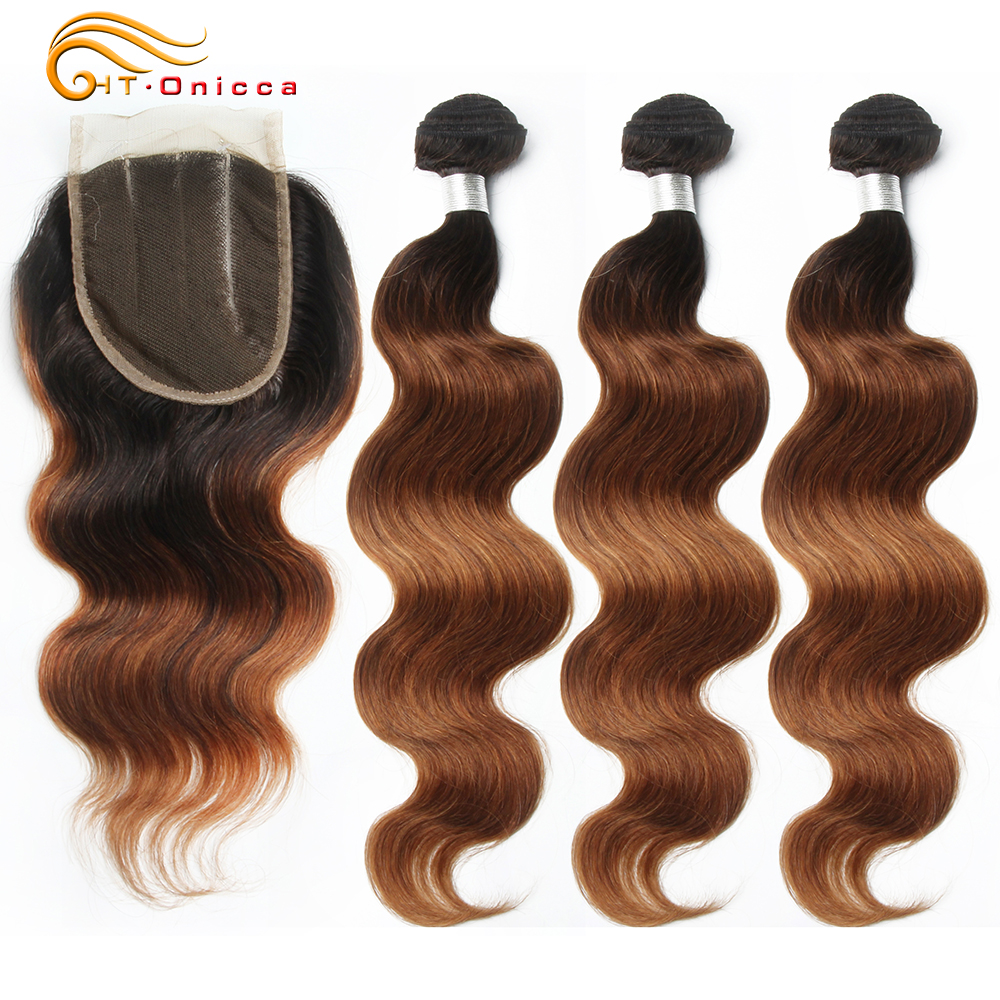 50g/pc Ombre Human Hair Bundles With Closure 1B 30 Honey Blonde Bundles With Closure Peruvian Body Wave Bundles With Closure