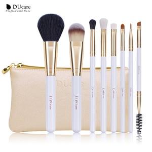 Image 2 - DUcare 8PCS Makeup Brushes Natural hair Makeup brush set with Bag Foundation Powder Brush Eyeshadow Brushes  Travel Makeup Set
