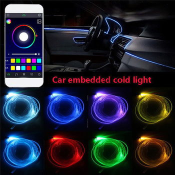 6 w 1 RGB LED atmosfera światła samochodowe wewnętrzne oświetlenie otoczenia światłowodowe diody na wstążce przez kontrola aplikacji DIY muzyka 8M zespół światłowodowy tanie i dobre opinie roadsun NONE CN (pochodzenie) Klimatyczna lampa Interior Atmosphere Light Lamp APP Bluetooth Control interior lights universal