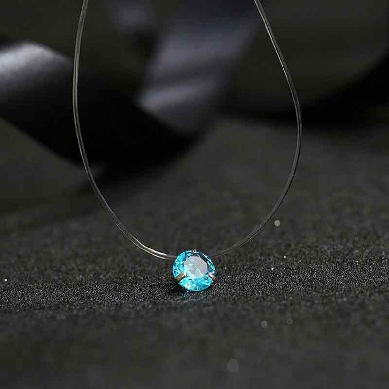 Mode Shiny Kristall Halskette Zirkon Anhänger Transparent Angelschnur Unsichtbare Damen Halskette Schmuck Schlüsselbein Kette Chocker