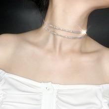 Kinel-gargantilla con diamantes de imitación superllamativas para mujer, collar de Color, banda para el cuello, accesorios para el cuello, cadena corta