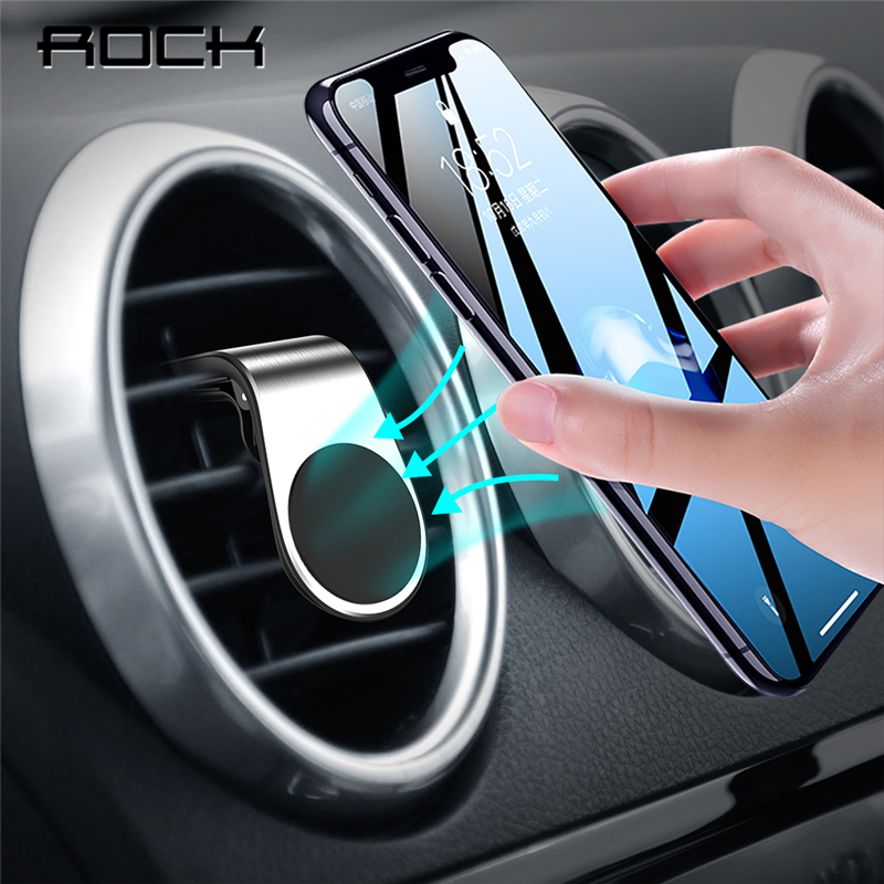 Rock Metal Magnetic Car Phone Holder Universal Magnet For IPhone XS MAX X 8 7 6 Plus Xiaomi Samsung 360 Degree Air Vent Mount