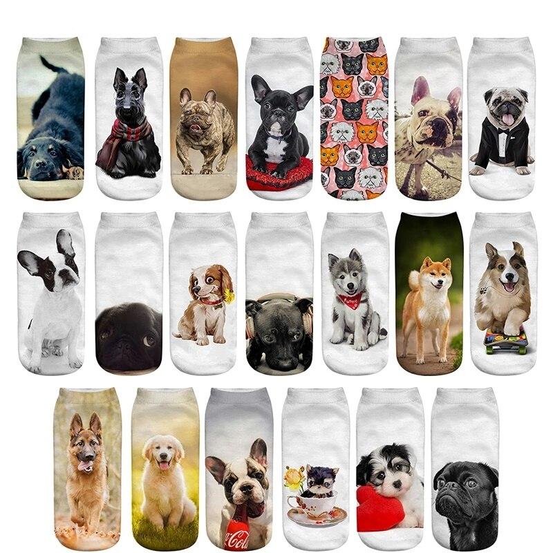 Dreamlikelin милые женские носки, 20 видов стилей 1 пара 3D Kawaii Собаки Кошки корги бульдог животных носок с низкой лодыжкой