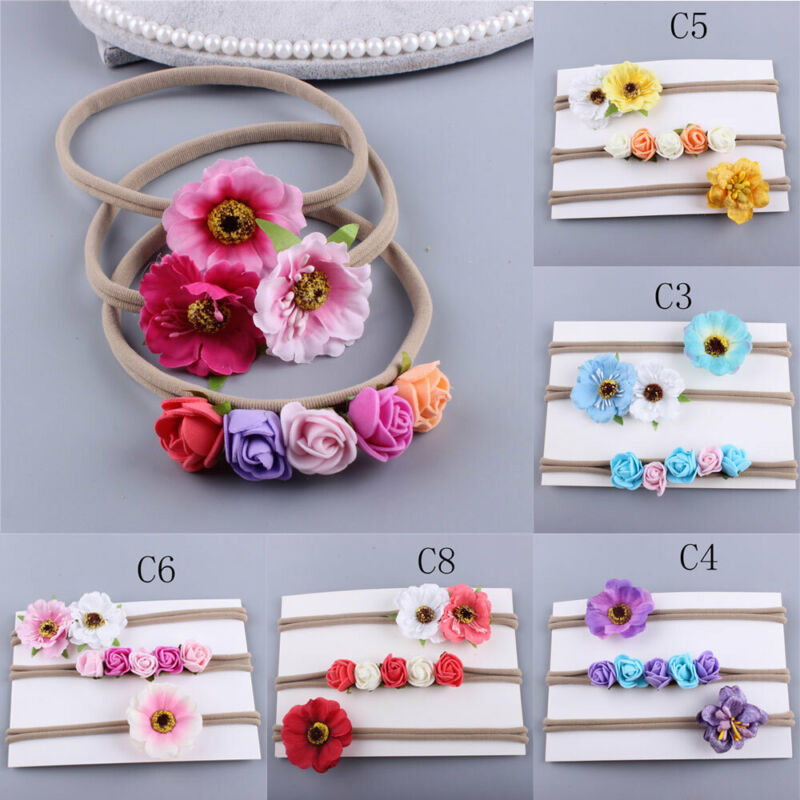 3pcs/Set Newborn Girl Headband Elastic Baby Headdress New Kids 3D Flower Hair Band Toddler Baby Hairband Girls Bow Accessories