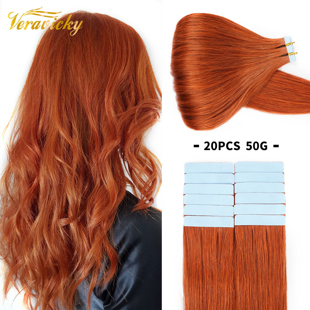 Copper Red 50G/20PCS Tape In Natural Human Hair Extensions Skin Weft Adhesive Invisible Machina Made Remy Seamless Real Hair