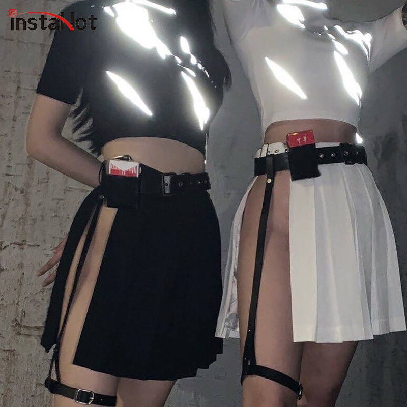 InstaHot Black Slit Pleated Skirts Women With Leather Belt Summer Sexy Party Club Punk Moto Style Streetwaer Skirts 2019 Fashion in Skirts from Women 39 s Clothing
