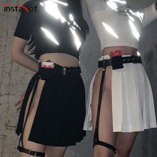 InstaHot Black Slit Pleated Skirts Women With Leather Belt Summer Sexy Party Club Punk Moto Style Streetwaer 2019 Fashion