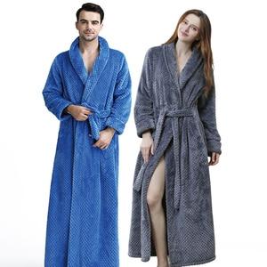 Image 4 - ผู้หญิงผู้ชายExtraยาวDobby Coralขนแกะเสื้อคลุมอาบน้ำฤดูหนาวหนาFlannel Thermal Bath Robe Kimonoชุดเจ้าสาวPeignoir