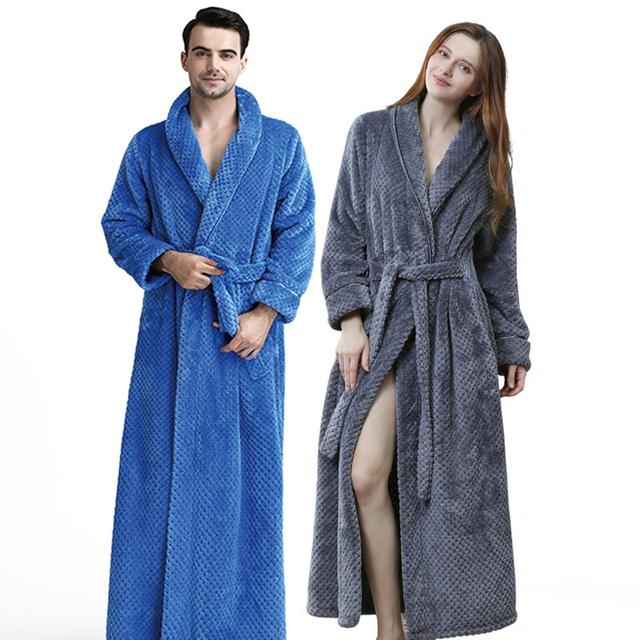Women Men Extra Long Warm Coral Fleece Bathrobe Winter Thick Flannel Thermal Bath Robe Dressing Gown Bride