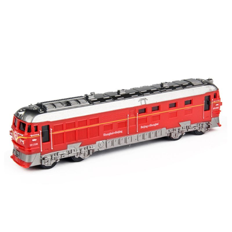 1:87 Simulated Alloy Train Locomotive Model Pull Back Vehicle Toy Sound Lights